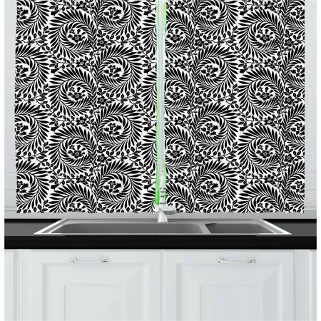 Black and White Curtains 2 Panels Set, Damask Inspired Floral Arrangement  Foliate Motif Victorian Inspirations, Window Drapes for Living Room  Bedroom, ...