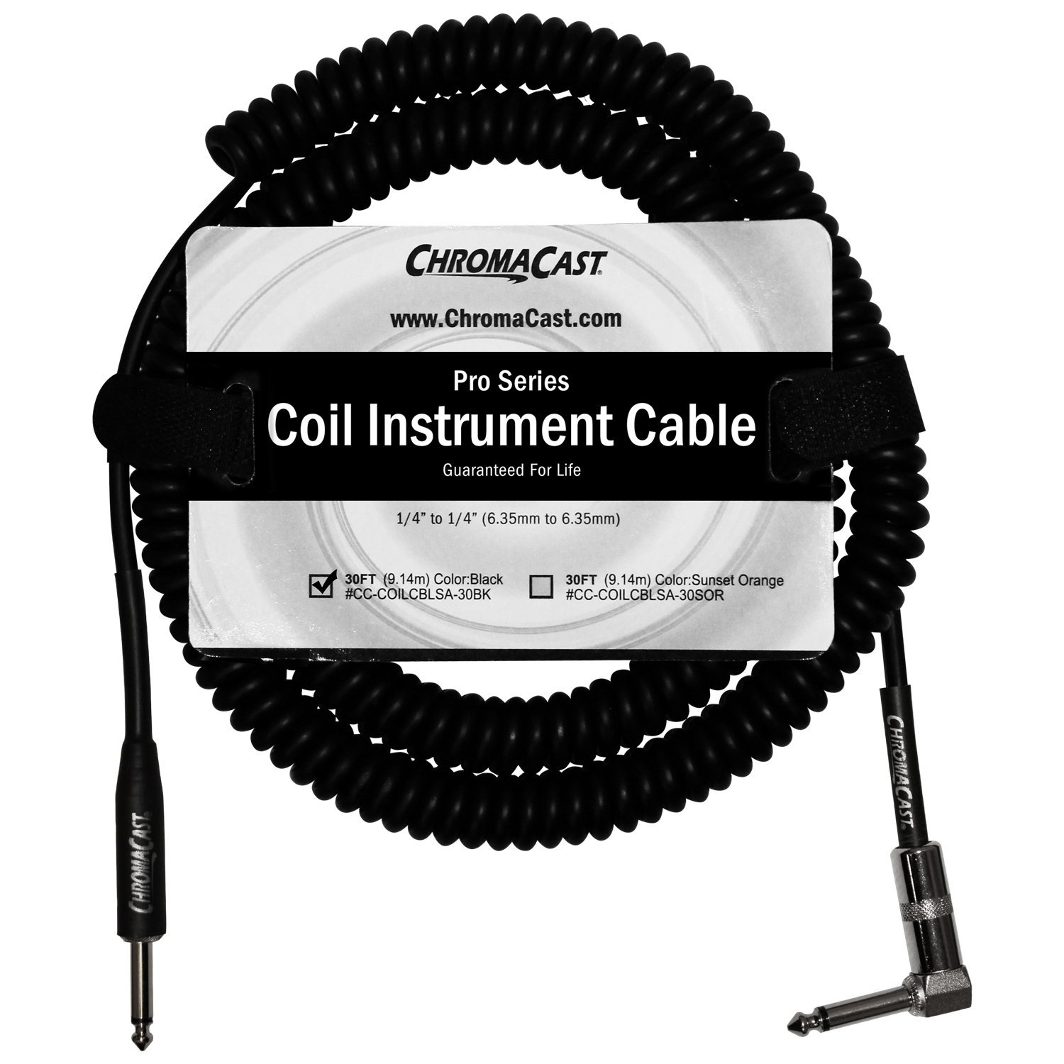 "ChromaCast Pro Series Coil Instrument Cable 30 Feet, Black, 1 4"" Straight- 1... by ChromaCast"