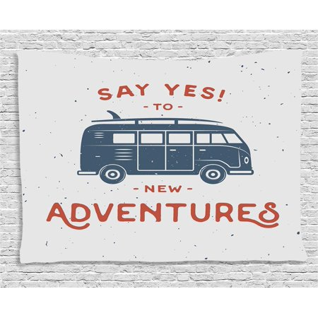 Vintage Decor Tapestry, New Adventures Typography with Little Van Hippie Style Life Free Spirit Design, Wall Hanging for Bedroom Living Room Dorm Decor, 60W X 40L Inches, Blue Red, by Ambesonne