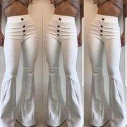 Women Fashion Solid Color Elastic Waist Slim Fit Trousers Wide Leg Flares Pants Button Pleated Pants Casual Pants