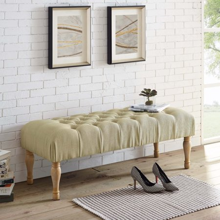 Legs Upholstery (Roundhill Furniture Tallenn Fabric Upholstery Button Tufted Turned Leg Bench)