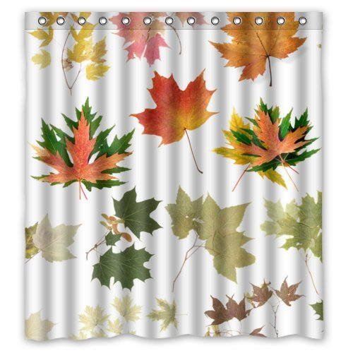 HelloDecor Leaves Shower Curtain Polyester Fabric Bathroom Decorative Curtain Size 66x72 Inches