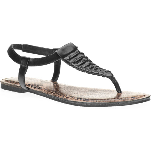 Faded Glory Women's Exa Woven Faux Snakeskin Thong Sandals