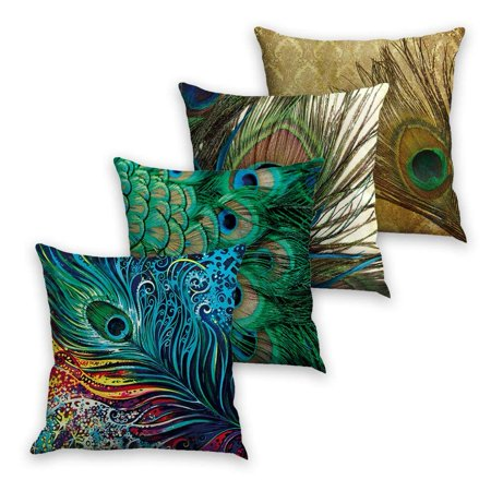 Tayyakoushi Decorative Throw Pillow Case Cushion Cover Set of 4 18x18 inch Square Zipper Waist Pillowcase Pillow Protector Slip Cases Sham for Couch Sofa ()