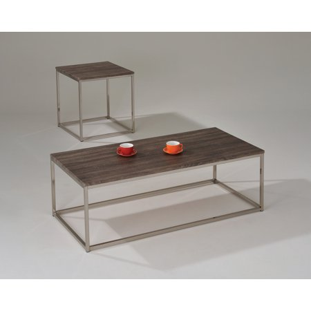 Walnut Veneer Mdf - End Table, Walnut & Brushed Nickel - PVC Veneer, MDF & Metal Walnut & Brushed Nickel