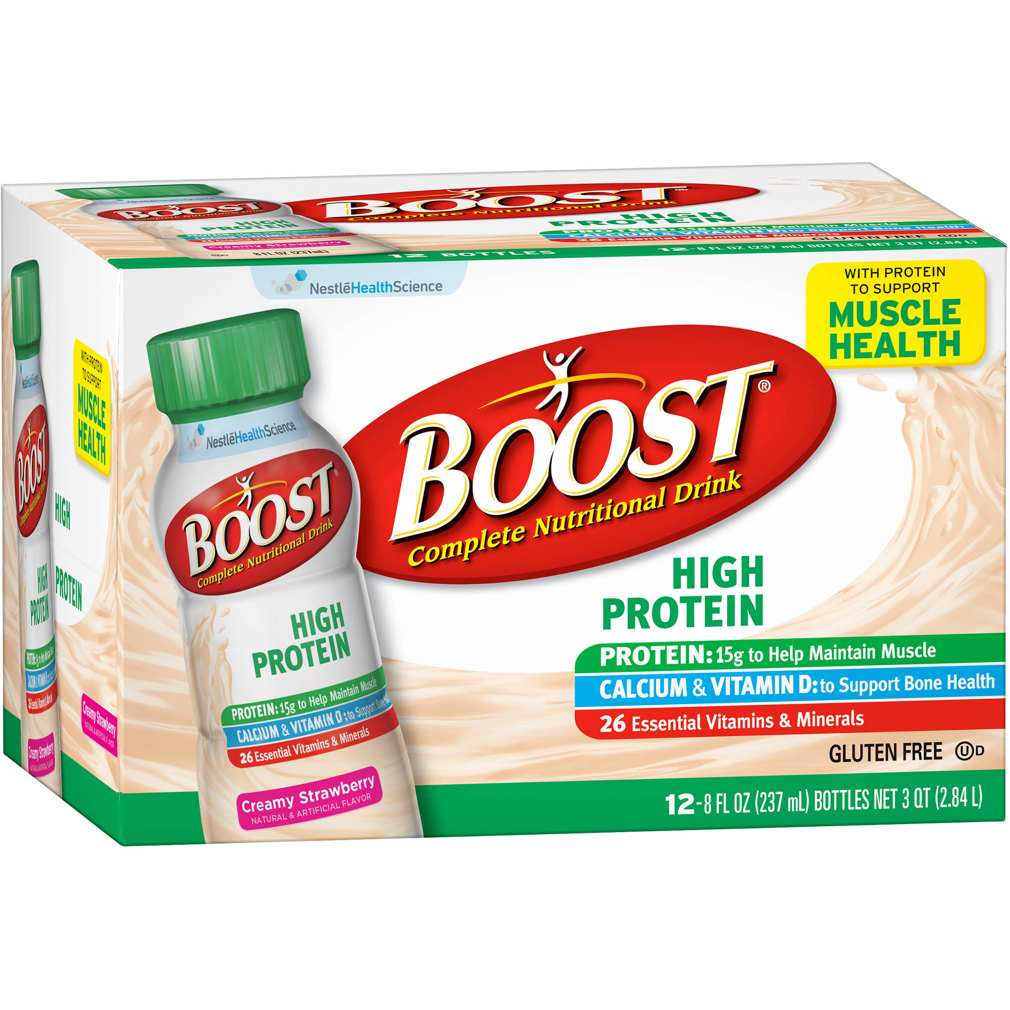 Boost High Protein Creamy Strawberry Complete Nutritional Drink, 8 Ounce, 12 Count