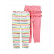 Carter's Baby Girls' 2-Pack Pants Set- Pink Rainbow Stripe, 3 Months