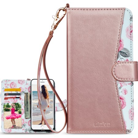 ULAK iPhone 6S / 6 Case Premium PU Durable Leather Wallet Folio Protective Cover Case Stand for Apple iPhone 6 / 6S, Rose (Best Iphone Folio Case)