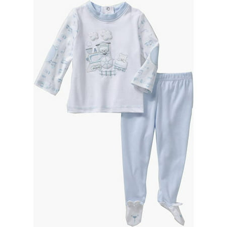 Quiltex Newborn Baby Boy 100% Cotton Pique Top & Bear-Footed Pants Outfit Set