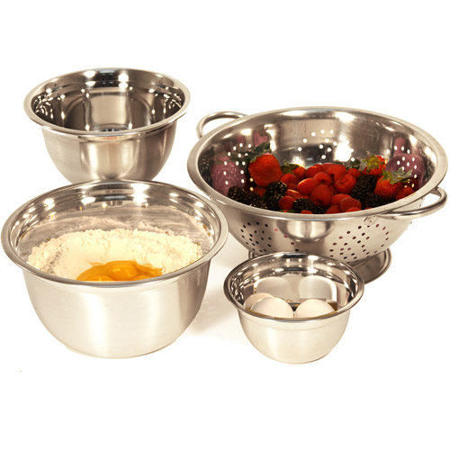 Heuck 4-Piece Stainless Steel Mixing Bowl and Colander Set