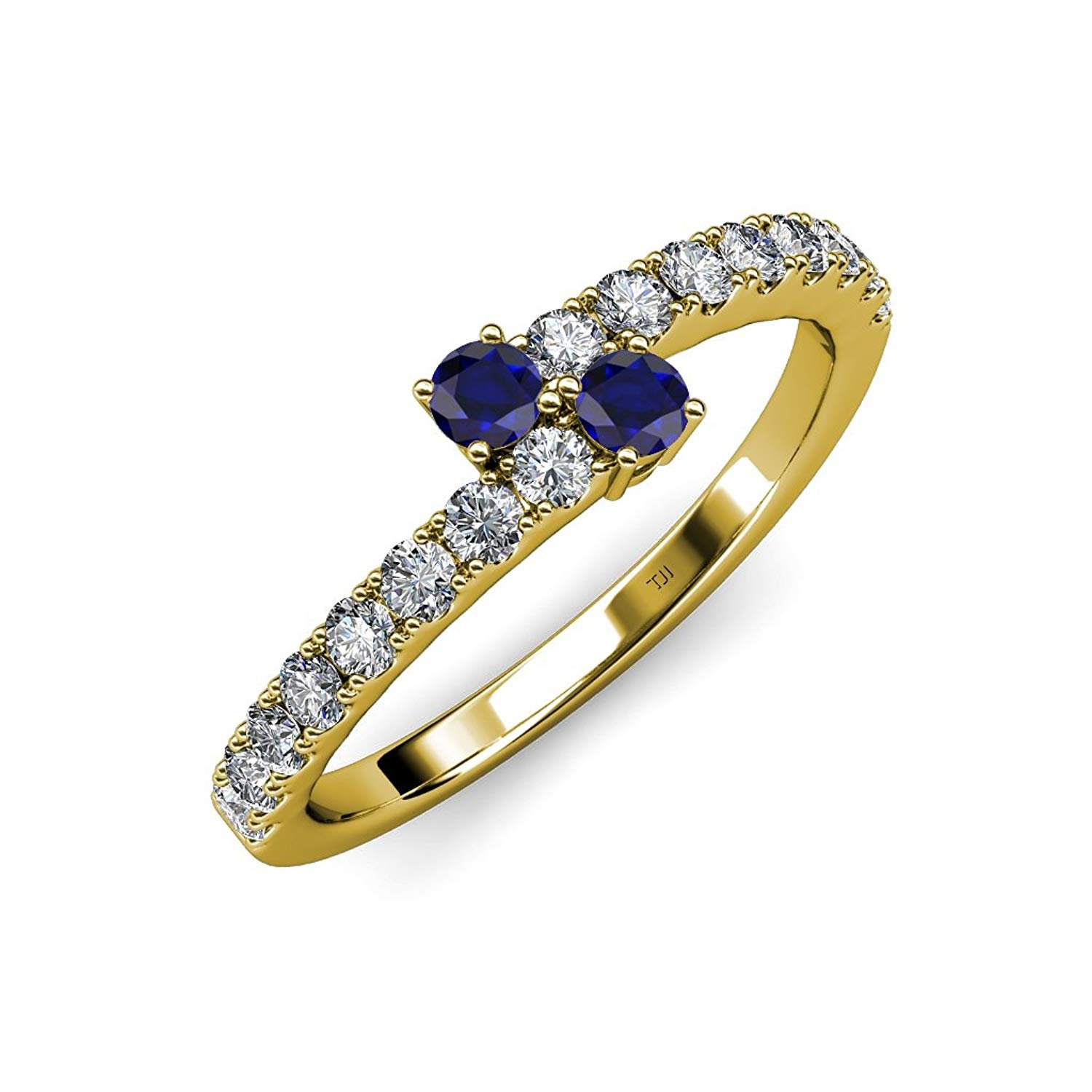 Blue Sapphire 2 Stone with Side Diamonds Bypass Engagement Ring 0.88 ct tw in 14K Yellow Gold.size 9.0 by TriJewels