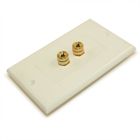 Wall plate: 1 Speaker (2 input jacks) for Banana Plugs Gold Plate,White ()