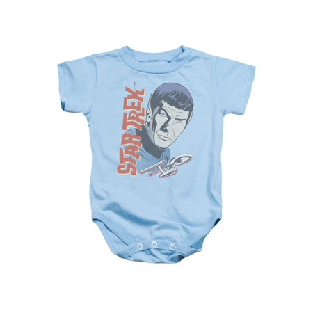 Trevco STAR TREK VINTAGE SPOCK Light Blue Infant Unisex Onesie - Star Trek Adult Onesie