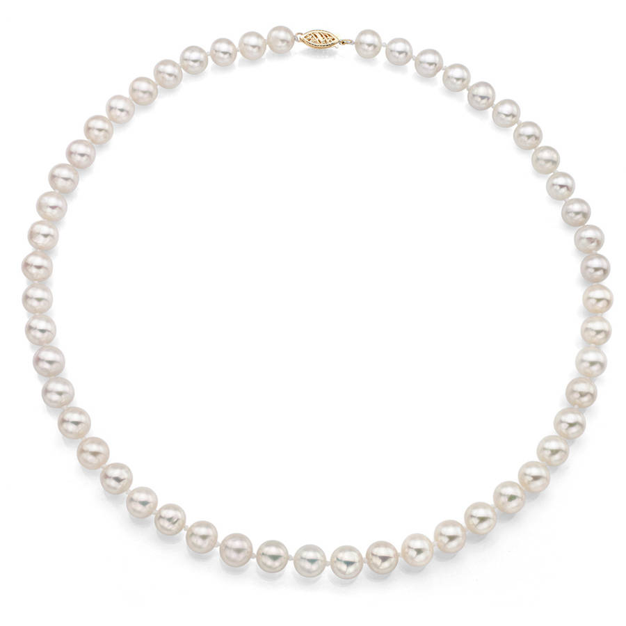 "7-7.5mm White Perfect Round Akoya Pearl 18"" Necklace with 14kt Yellow Gold Clasp by Generic"