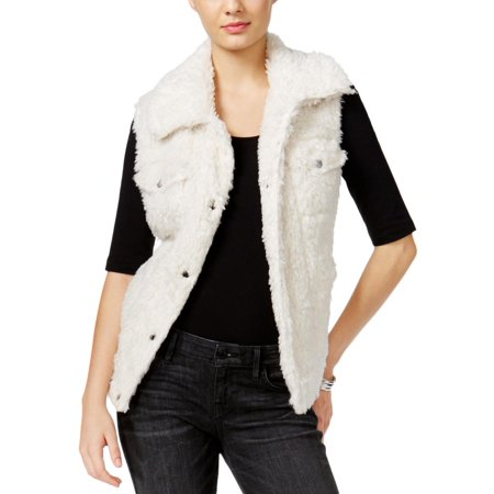 Guess Womens Stephanie Faux Fur Collared Casual Vest