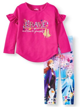 "Disney Frozen 2 Exclusive Elsa, Anna and Olaf ""Be Brave and True to Yourself"" Ruffle Sleeve Top and Legging, 2-Piece Outfit Set (Little Girls & Big Girls)"