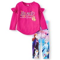 """Disney Frozen 2 Exclusive Elsa, Anna and Olaf """"Be Brave and True to Yourself"""" Ruffle Sleeve Top and Legging, 2-Piece Outfit Set (Little Girls & Big Girls)"""