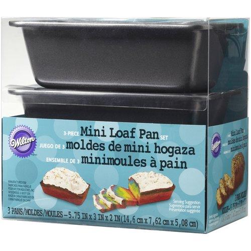 """Wilton 5.75"""" x 3"""" x 2"""" Mini Loaf Pan Set, 3 pc. 2105-1425"""