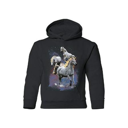 Horses Youth Sweatshirt - Wild Galaxy Unicorns Nebula YOUTH Hoodie Space Horse