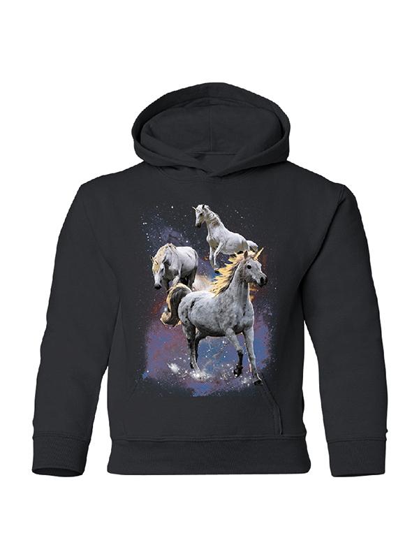 Wild Galaxy Unicorns Nebula YOUTH Hoodie Space Horse