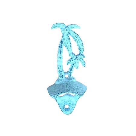 Rustic Dark Blue Whitewashed Cast Iron Wall Mounted Palmtree Bottle Opener 6