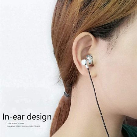In-Ear Earbud Headphones Heavy Bass Wired Headset Metal Earbud with Micphone Stereo Sound Effect Color:Gold - image 5 de 8