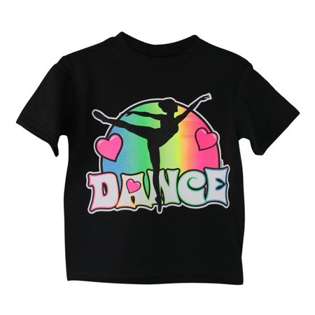 "Girls Black Neon Color ""Dance"" Print Short Sleeve Cotton T-Shirt"
