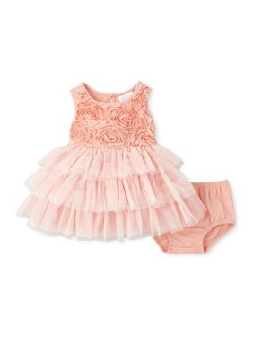 The Children's Place Baby Girl Sleeveless 3D Flower Tier Mesh Dress and Bloomer Set