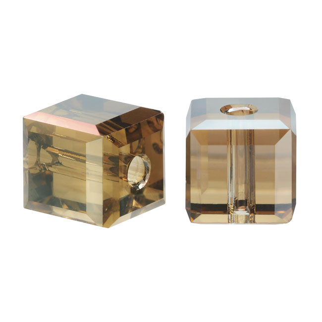 Swarovski Crystal, #5601 Cube Beads 4mm, 10 Pieces, Crystal Bronze Shade