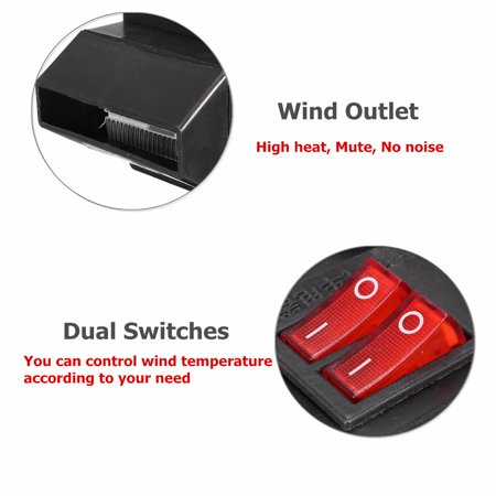 Adjustable 12v 300w 80℃ Dual Switchs Auto Car Mute Heating Fan Heater Windscreen Defroster Demister Color:black - image 6 of 12