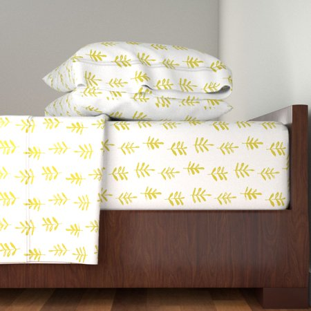 Leaves Botanical Yellow Mustard Trees 100% Cotton Sateen Sheet Set by Roostery