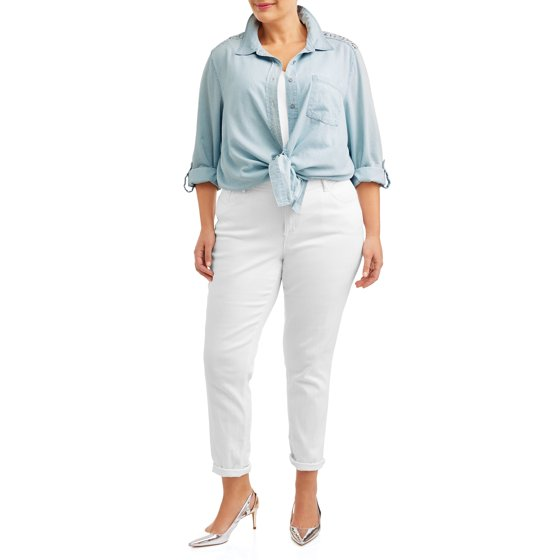 feac43de79d Angels - Women s Plus Size Chambray Collared Shirt with Lace Yoke -  Walmart.com