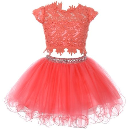 Girls Coral Lace Top Tulle Rhinestone 2 Pc Skirt Outfit (Cinderella Outfit For Adults)
