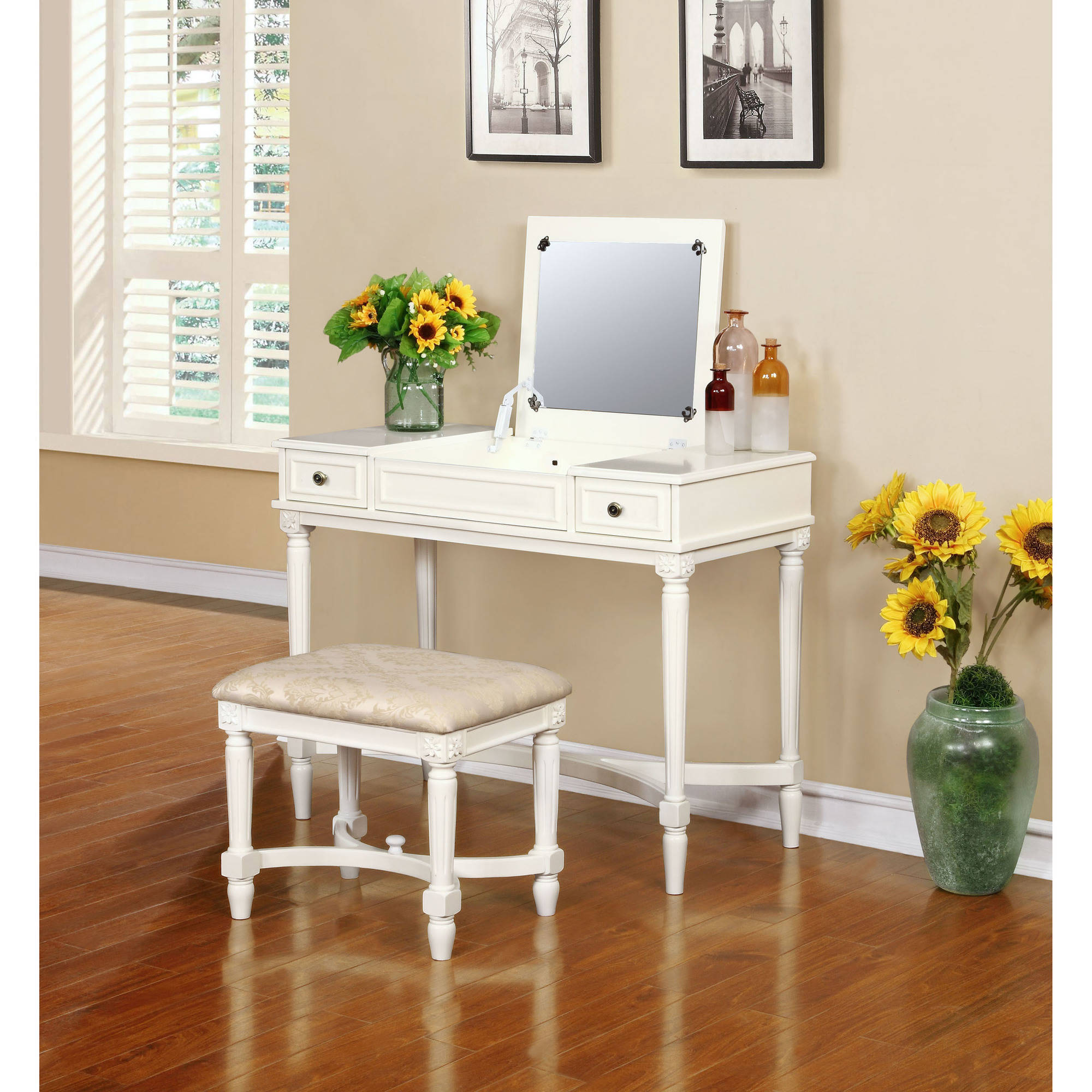 Linon Cyndi Vanity Set With Mirror And Bench, White, 17.5 Inch Seat Height