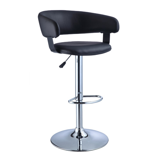 Powell Barrel Adjustable Height Swivel Bar Stool, Black Faux Leather and Chrome by Powell Furniture