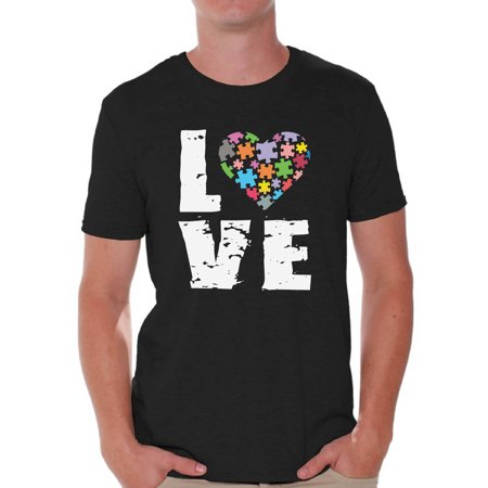 Awkward Styles Men's Love Puzzles Autism Awareness Graphic T-shirt Tops Autistic Support