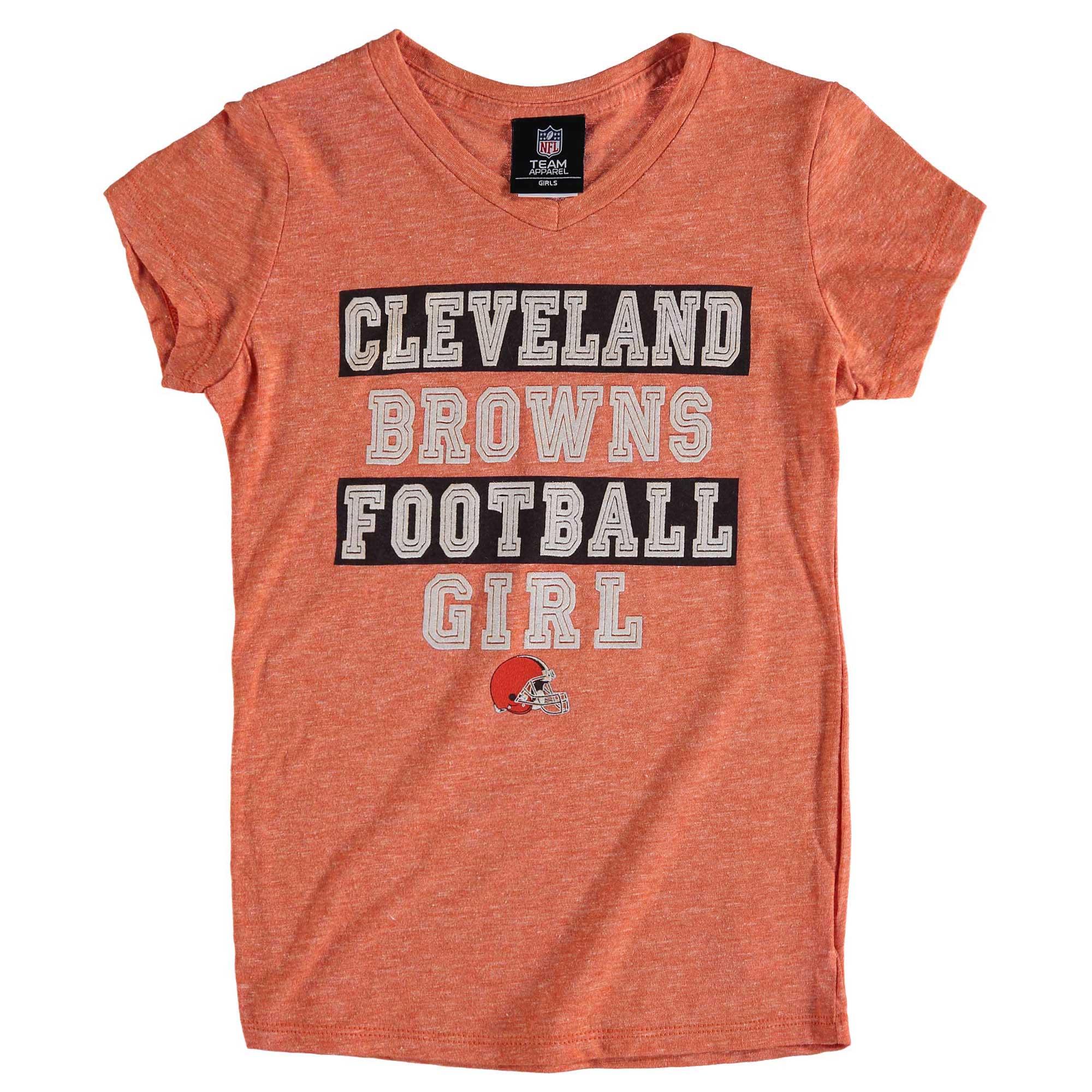 Cleveland Browns 5th & Ocean by New Era Girls Youth Football Girl Tri-Blend V-Neck T-Shirt - Orange