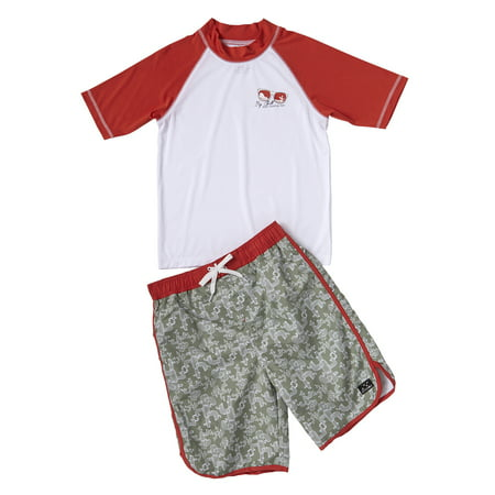 Cactus Print Swim Trunk and Rash Guard, 2-Piece Outfit Set (Little Boys)