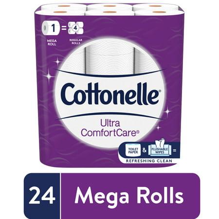 Cottonelle Ultra ComfortCare Soft Toilet Paper, 24 Mega Rolls