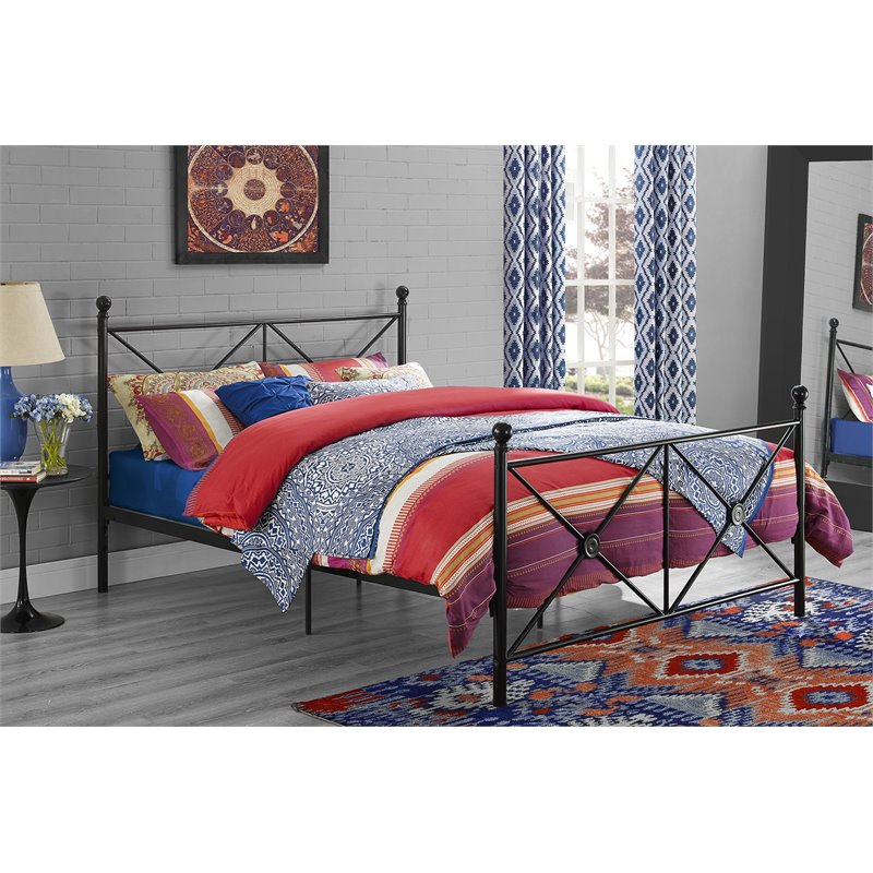 DHP Lubin Metal Bed Frame, Queen Size, Black Finish