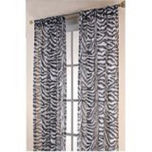 "Redbirdlinen 2 Pc Zebra White 63"" Long Sheer Panels Drape Curtain Window Treatmeant"