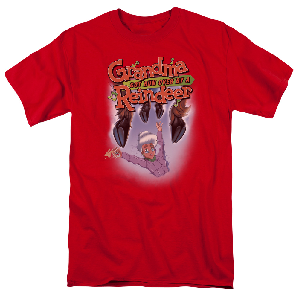 Grandma Got Run Over By A Reindeer Hooves Mens Short Sleeve Shirt