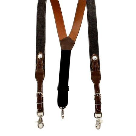 Nocona Western Suspenders Men Round Concho Leather Clip Black -