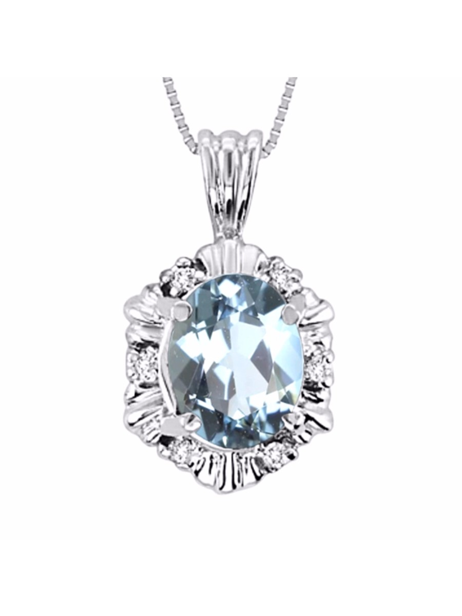 """Aquamarine & Diamond Pendant Necklace Set in 14K White Gold With 18"""" Chain LP4498AQW-E by"""