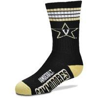 Vanderbilt Commodores For Bare Feet Youth 4-Stripe Deuce Crew Socks