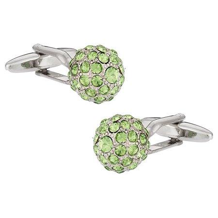 Swarovski Peridot Green Ball Cufflinks Swarovski Emerald Green Cufflinks