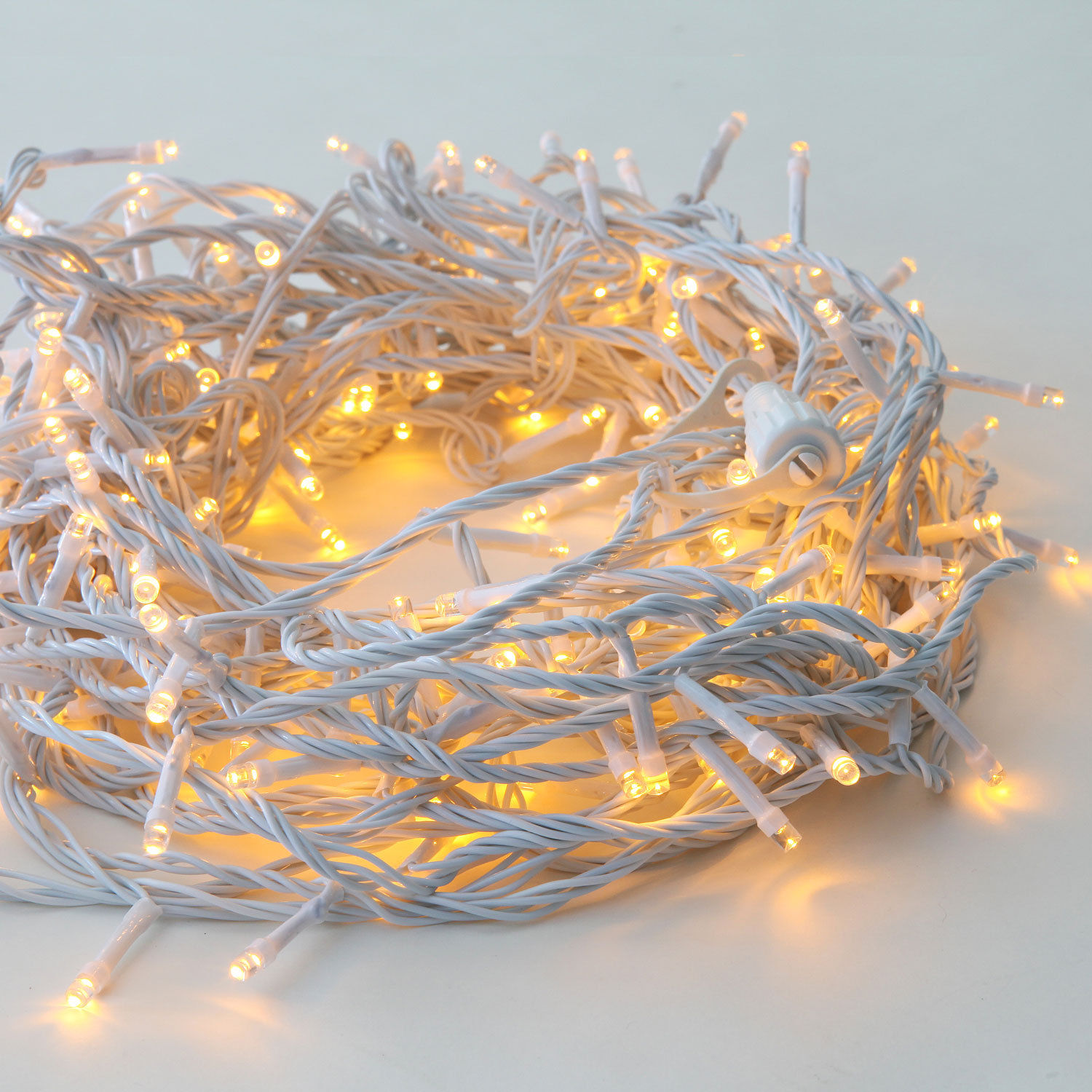 65.5 ft Outdoor Warm White 200 LED Decorative White Cable Battery String Lights by LampLust