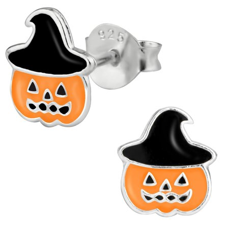 Hypoallergenic Sterling Silver Cute Jack-O'-Lantern Stud Earrings for Kids (Nickel Free) ()