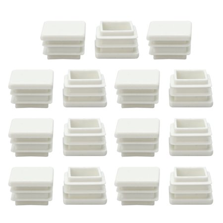 20x 20mm Plastic Square Tube Inserts Ribbed Pipe Tubing End Cover Caps, for 0.67