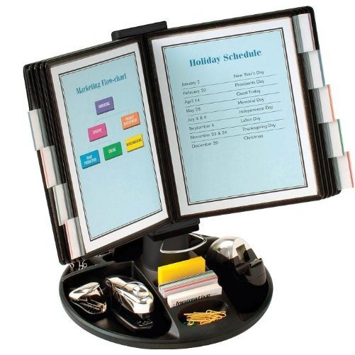 "Aidata FDS021L Executive Document Holder with Supply Trays - 10 Page Stand (Black) (19""H x 21""W x 14""D)"